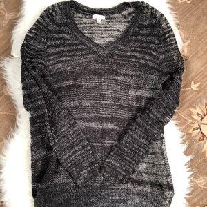 Sheer sweater black top